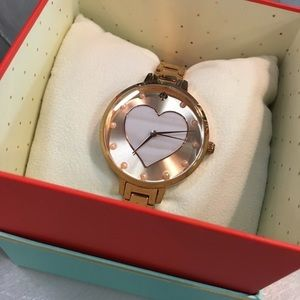 Kate Spade Metro Rose Gold Heart Pearl Watch